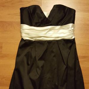 Size 3 Little Black Dress with Cream Satin Belt